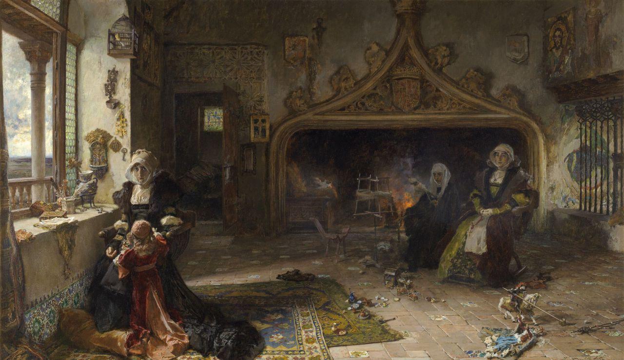 'La reina don?a Juana la Loca, recluida en Tordesillas con su hija, la infanta don?a Catalina', de Francisco Pradilla y Ortiz (1848 - 1921). O?leo sobre lienzo