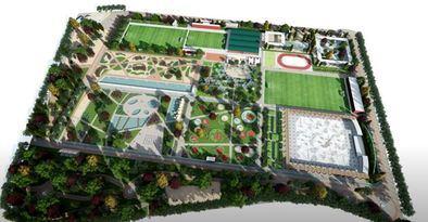 El proyecto incluye zonas verdes y de ocio junto a pistas de hockey, vóley o baloncesto al aire libre.