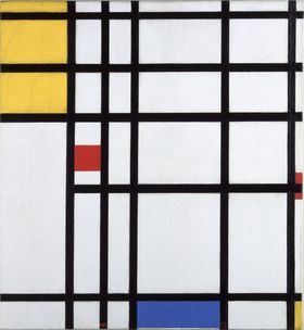Piet Mondrian, 'Pintura II 1936-43, con amarillo, rojo y azul. Oleo sobre lienzo (60x55 cm). Moderna Museet, Stockholm.