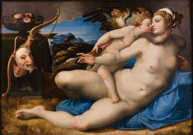 'Venus besada por Cupido'. Hendrik van der Broeck, según Miguel Ángel. Óleo sobre tabla, 120x195 cm h. 1550-1570. Nápoles, Museo e Real Bosco di Capodimonte