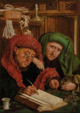 'El tesorero municipal' (conocido como 'Recaudadores de impuestos'), Marinus van Reymerswale. Óleo sobre lienzo transferido desde tabla, h. 1530, San Petersburgo.