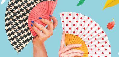 El nuevo cartel con motivo de las fiestas de San Isidro, obra de la ilustradora Beatriz Ramo Fernández, más conocida como Naranjalidad, muestra unos abanicos con el estampado típico de la vestimenta de las chulapas y chulapos: los lunares rojos y la pata de gallo.