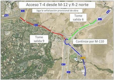 El montaje del puente, ya parcialmente ensamblado, requiere el corte de la vía que cruza, afectando de manera temporal a los accesos a la T4 desde las autopistas de peaje M-12 y R-2.