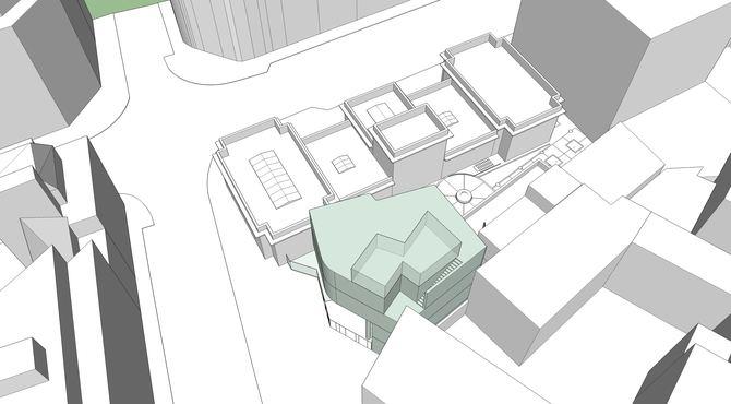 El nuevo edificio contará con una superficie total construida de 608 m2, repartidos en cuatro niveles.