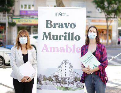 La portavoz de Más Madrid en el Ayuntamiento, Rita Maestre, la portavoz en el distrito, Mar Barberán, y la diputada autonómica María Acín han presentado el proyecto 'Bravo Murillo amable' la pasada semana.