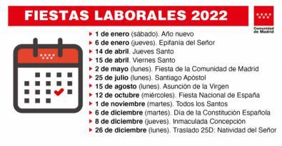 La Comunidad tendrá 12 festivos en 2022