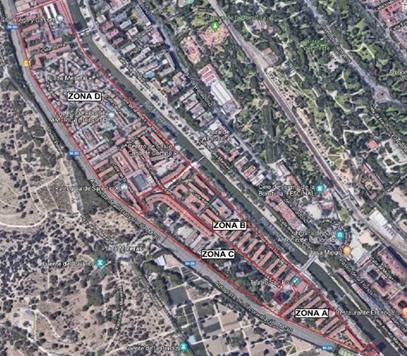 La zona que hoy se ha supervisado se encuentra en el ámbito delimitado al norte por la calle de la Ribera de Manzanares y la plataforma de acceso a la Casa de Campo, la calle Felipe Moratilla al sur, la calle de la Ribera de Manzanares al este y la M-30 al oeste (zona D).