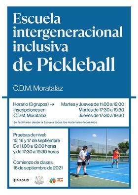 La primera escuela municipal de 'pickleball' abre sus puertas en el distrito de Moratalaz