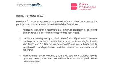 Mediaset España y Cuarzo Producciones han decidido eliminar la presencia en el programa de Carlos A, tras su detención por su presunta implicación en un delito de abuso sexual durante una fiesta.