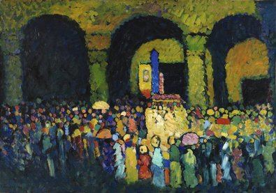 Wassily Kandinsky, 'La Ludwigskirche en Múnich', 1908 (The Ludwigskirche in Munich). Óleo sobre cartón, 67,3 x 96 cm Colección Carmen Thyssen-Bornemisza, en depósito en el Museo Nacional Thyssen-Bornemisza.