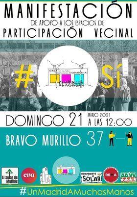 Una manifestación reclamará este domingo la continuidad de Casa Chamberí y apoyará los espacios de participación