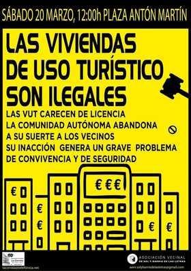 Asociaciones vecinales de Centro convocan este sábado una concentración en Antón Martín contra los pisos turísticos