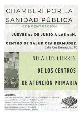 También habrá una concentración, a las 19.00h, ante el centro de salud de Céa Bermúdez, en Chamberí.