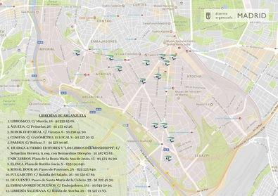 La junta ha editado un mapa con la ruta y situación de las librerías del distrito.