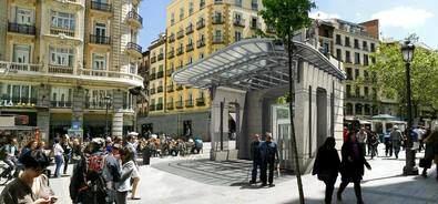 La remodelación de la estación de Gran Vía incluye la réplica en superficie del antiguo templete de la Red de San Luis del arquitecto Antonio Palacios, que en su momento sirvió de hito de acceso a la antigua estación de Metro, y que estará ubicado entre las calles de Montera y Gran Vía.