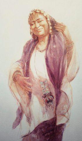 La muestra titulada 'Mujeres del Sahel', de la pintora Irene López de Castro, llega a la Casa Árabe de Madrid