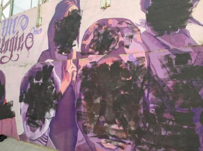 El mural de Ciudad Lineal, vandalizado