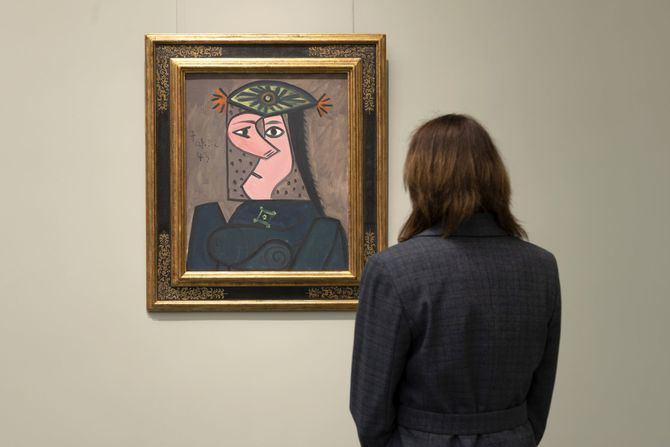 Busto de mujer de Picasso en la sala 9 B de edificio Villanueva en el Museo Nacional del Prado.
