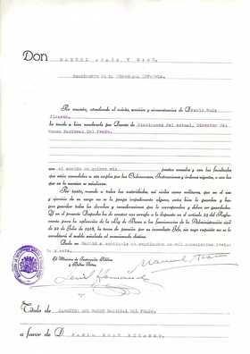 Nombramiento de Picasso como Director del Museo Nacional del Prado. Archivo digital del Museo Nacional del Prado.