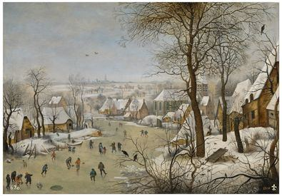 'Paisaje nevado con patinadores y trampa para pájaros', Pieter Brueghel el Joven. Museo del Prado.