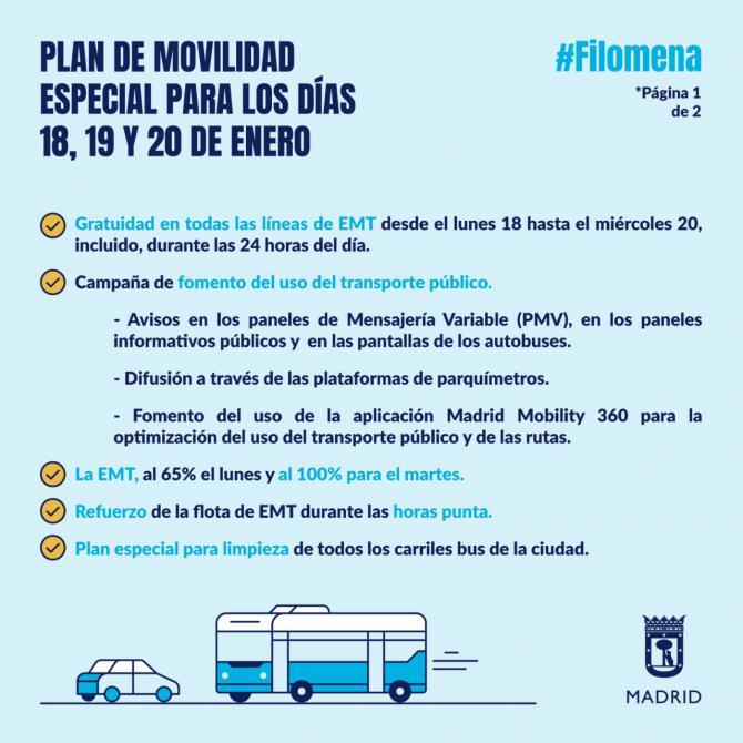El servicio de autobuses de EMT, gratuito durante tres días para limpiar los estragos de Filomena