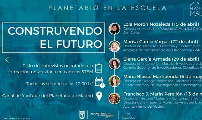 La inscripción a esta actividad gratuita enmarcada en el programa 'Planetario en la escuela' puede realizarse a través de la página web de Planetario de Madrid y podrá seguirse en su canal de YouTube.