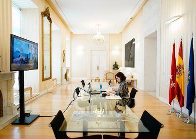 La presidenta de la Comunidad de Madrid, Isabel Díaz Ayuso, ha presidido desde la Real Casa de Correos la reunión por videoconferencia de la Junta Rectora de IFEMA.