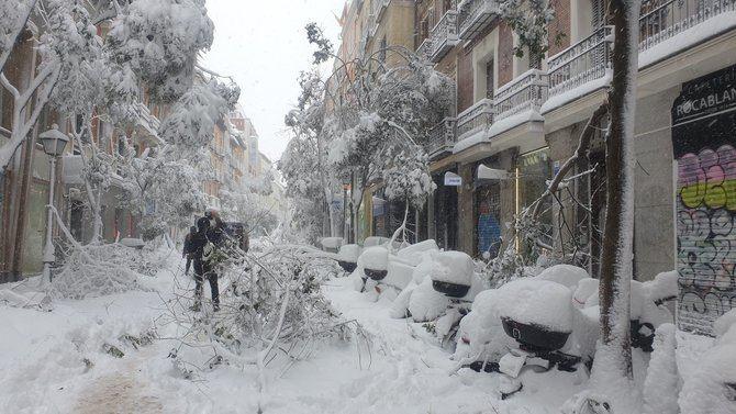 La primera recomendación del Gobierno municipal es que la gente se quede en casa en la medida de lo posible porque, además de la caída de ramas de los árboles, ahora empieza el riesgo de desprendimiento de nieve y hielo de cubiertas y tejados.